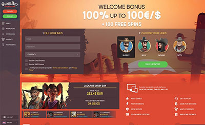 Gunsbet casino screenshot